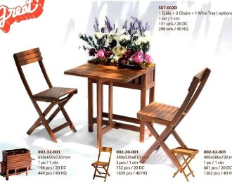 Folding Square Table + chair with Planter set